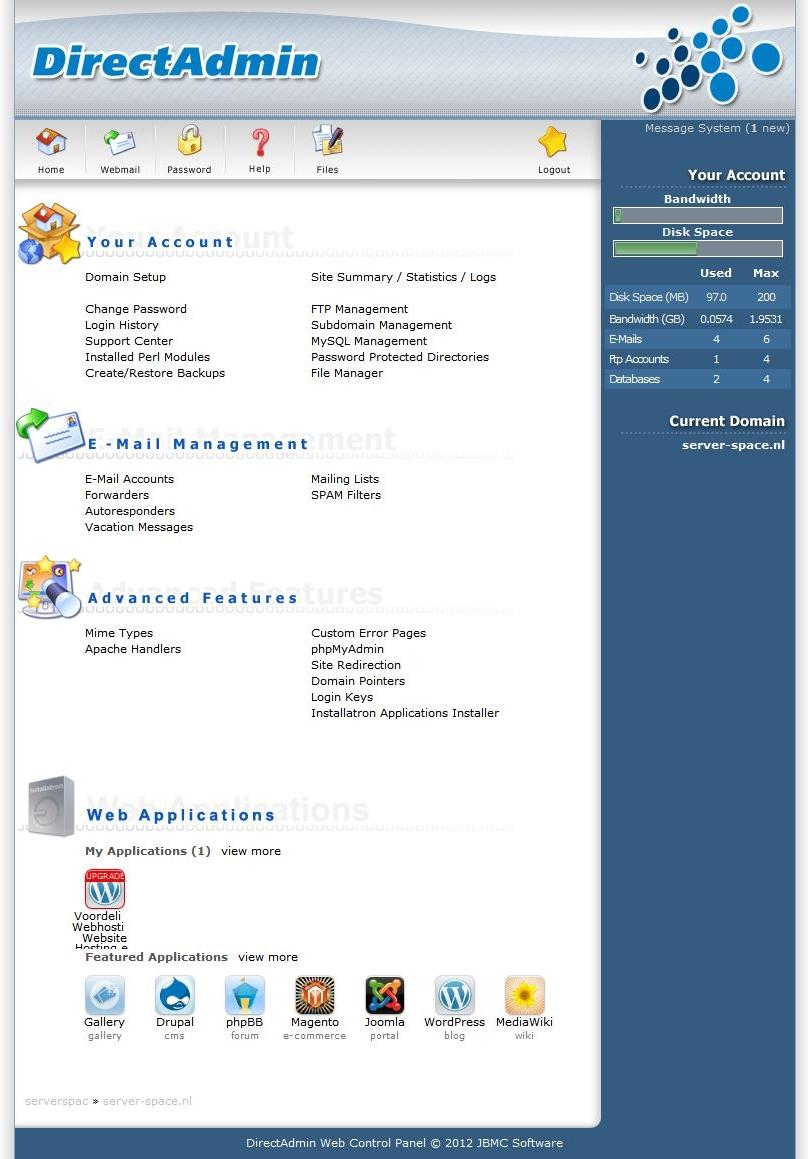 Server Space Directadmin Webhosting Panel